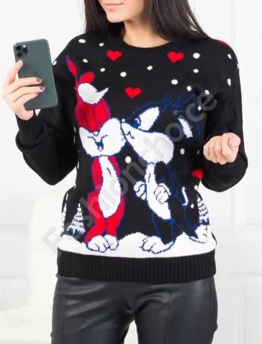 Красиво плетено коледно пуловерче в черно Код 459