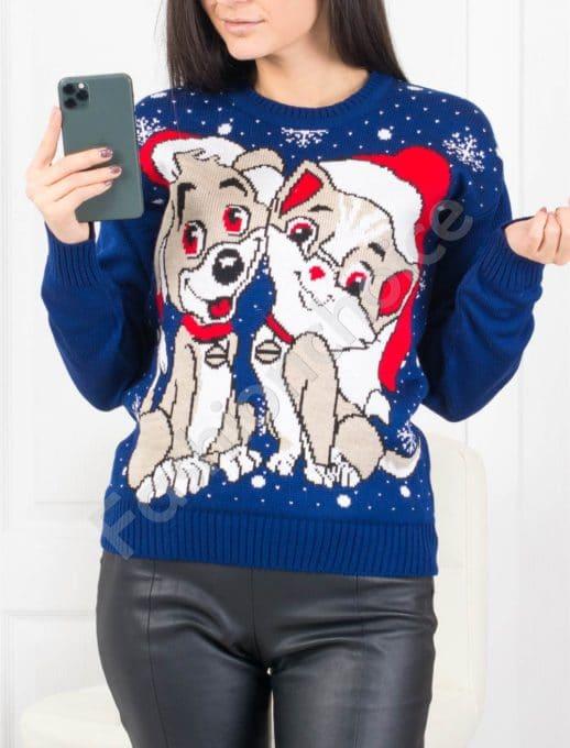 Сладко плетено коледно пуловерче в синьо Код 469-2