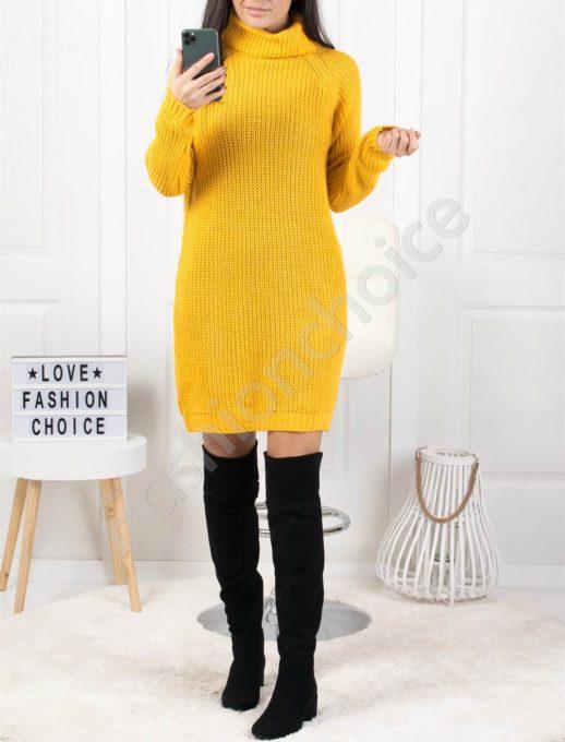 Дамска дълга плетена рокля с поло яка в цвят горчица Код 1377-4