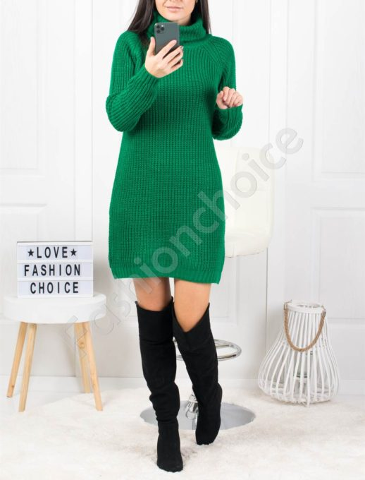 Дамска дълга плетена рокля с поло яка в зелено Код 1377-1
