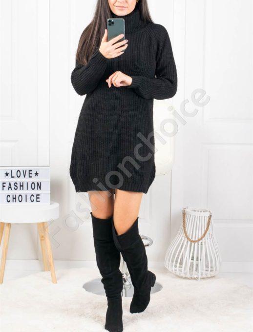 Дамска дълга плетена рокля с поло яка в черно Код 1377