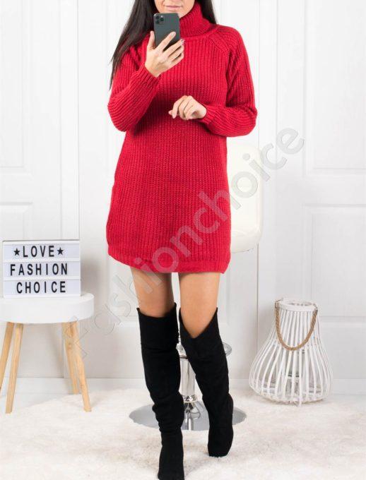 Дамска дълга плетена рокля с поло яка в червено Код 1377-3