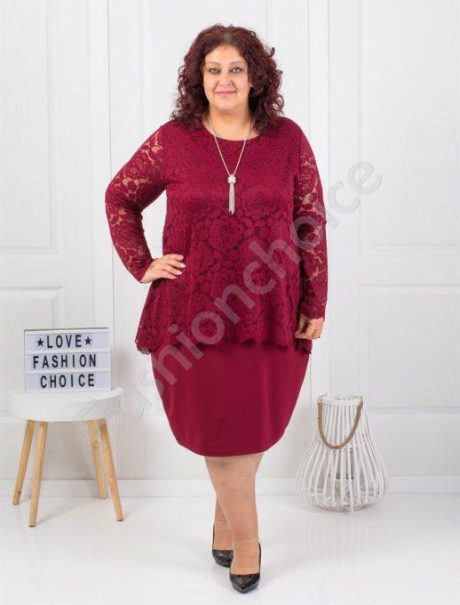Нежна макси рокля от дантела в бордо с подарък бижу-код 308