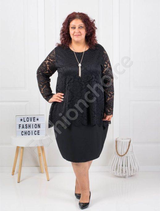 Нежна макси рокля от дантела в черно с подарък бижу-код 308-1