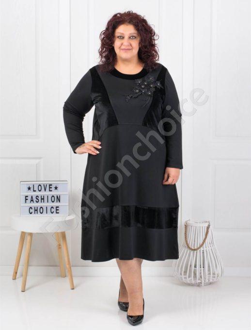 Превъзходна празнична макси рокля с красива декорация-код 1158