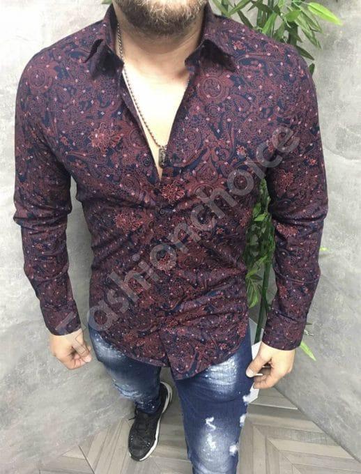 Елегантна мъжка риза с елементи в бордо и тъмносиньо-код 680