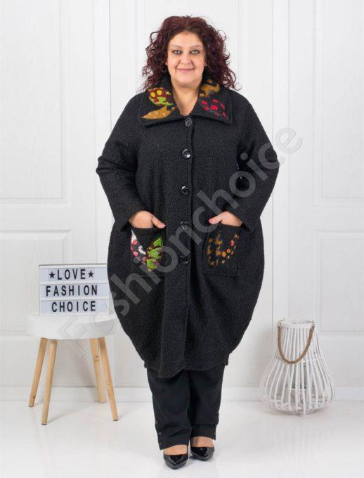 Приятно дълго макси палто със свежи апликации в черно-код 4723