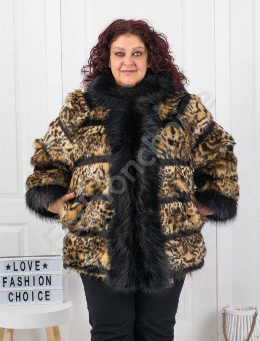 Стилно макси палто от еко косъм в тигров десен-код 1099