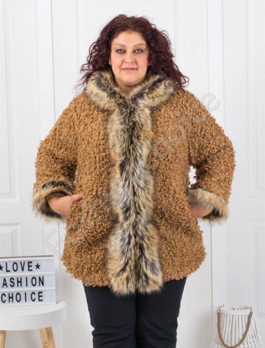 Модерно макси палто от букле и еко косъм в цвят камел-код 1117-1