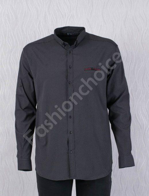 Прекрасна мъжка макси риза с джобче в черно/7XL,8XL/-код 1169-2