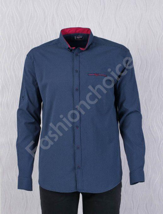 Прекрасна мъжка макси риза с джобче в син цвят/7XL,8XL/-код 1169