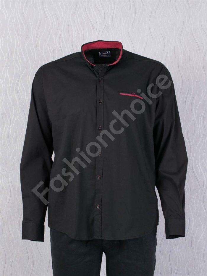 Едноцветна мъжка макси риза с джобче в черно/7XL,8XL/-код 1169-4