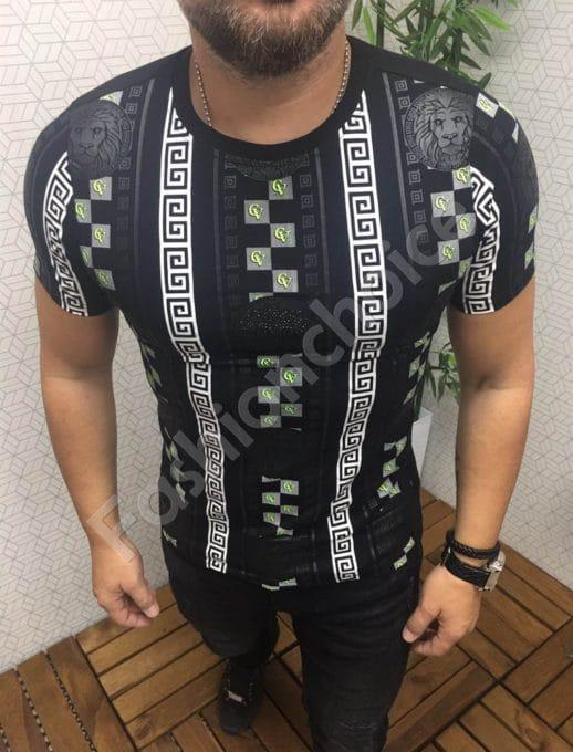 Мъжка тениска с интересен десен в черно-код 562-605-1