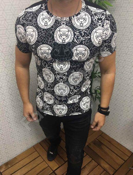 Мъжка тениска с красива щампа и камъчета в черно-код 562-612-1