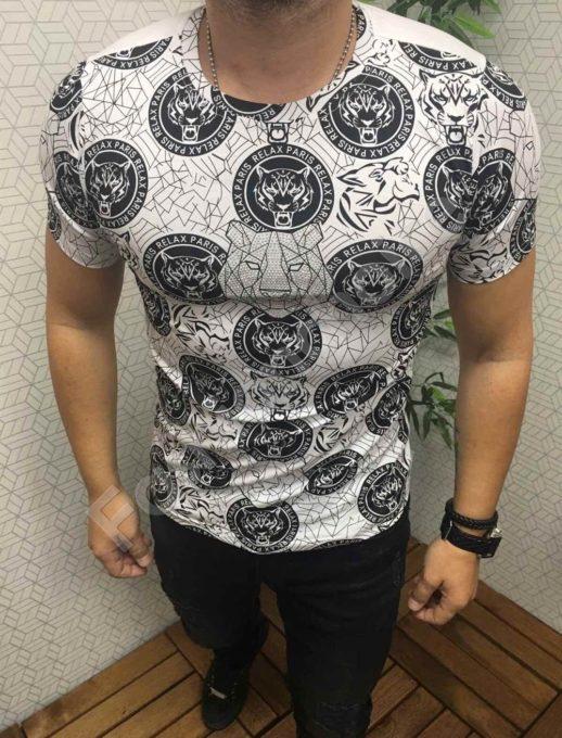 Мъжка тениска с красива щампа и камъчета в бяло-код 562-612