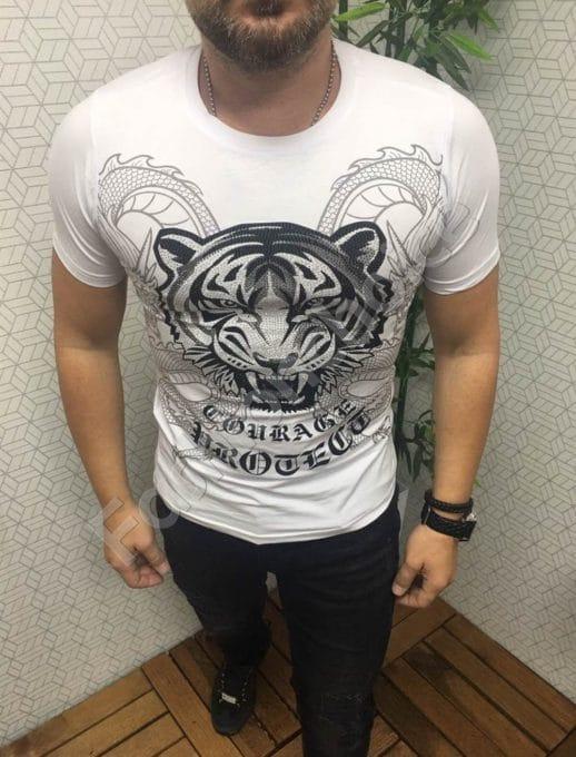 Мъжка тениска с красива декорация в бяло-код 562-603