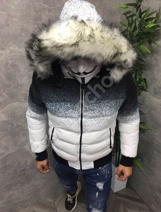 Зимно мъжко яке в бял преливащ десен-код 59220