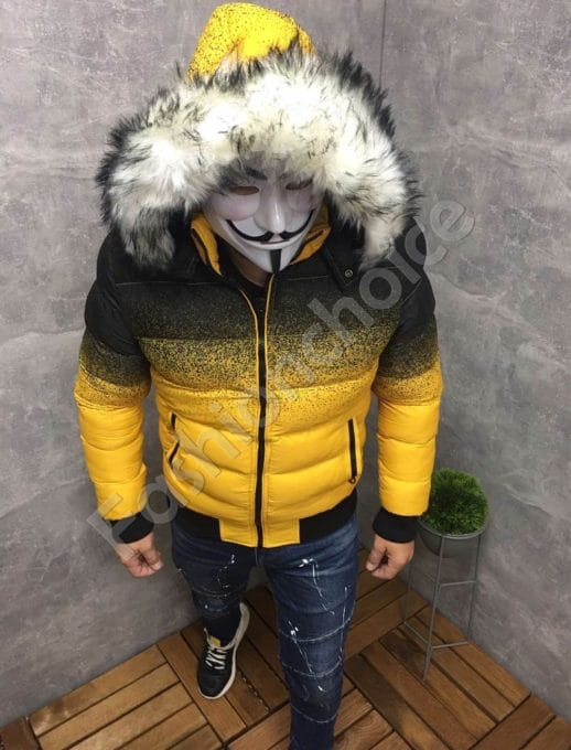 Зимно мъжко яке в жълт преливащ десен-код 59220-1
