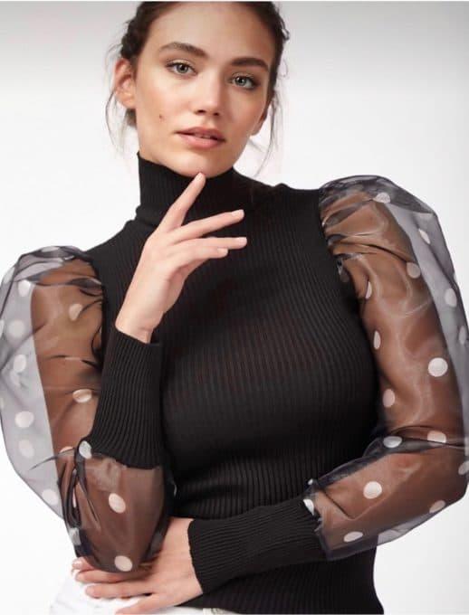 Дамска плетена блуза в черно с тюл ръкави на точки-код 0254