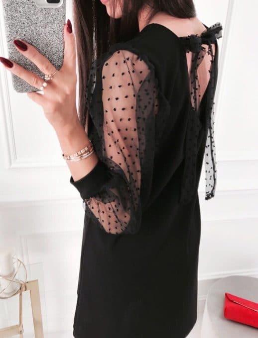 Прекрасна дамска рокля в черно с ръкави от тюл-код 19124-1