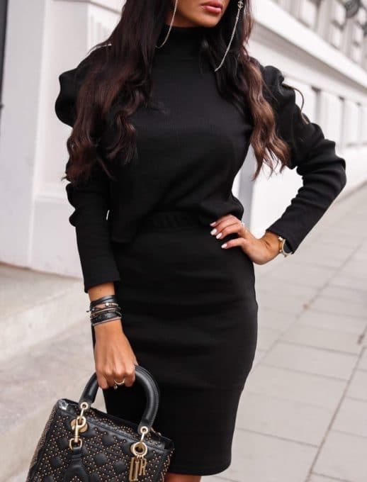 Плътен комплект от пола и блуза в черно Код 1373