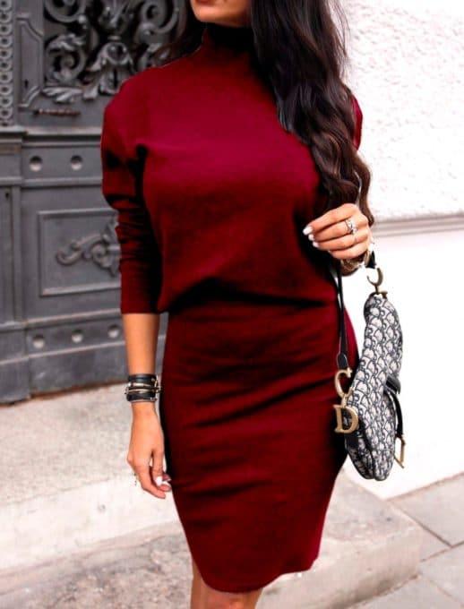 Плътен комплект от пола и блуза в бордо Код 1373-1
