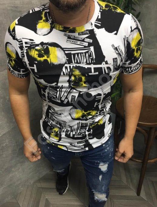Мъжка тениска с принт черепи в жълт нюанс-код 660