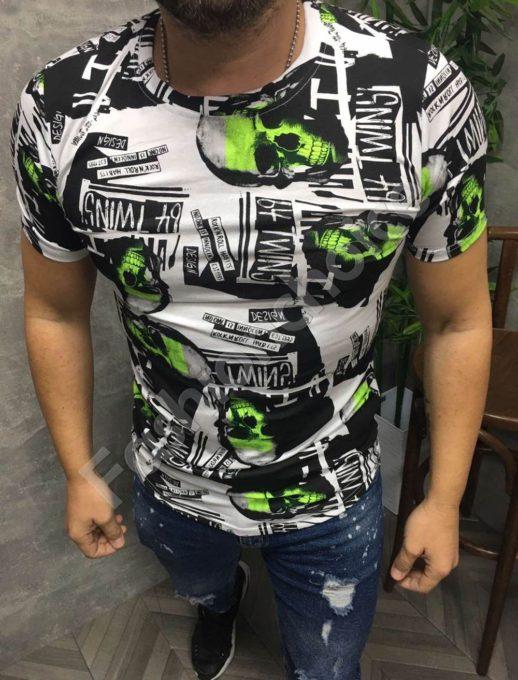 Мъжка тениска с принт черепи в неоново зелен нюанс-код 660-1
