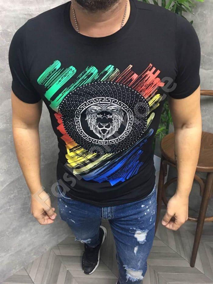 Мъжка тениска в черно с цветна декорация-код 691