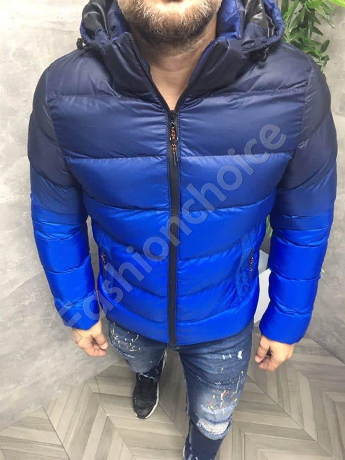 Мъжко зимно яке в тъмносин преливащ десен-код 8762