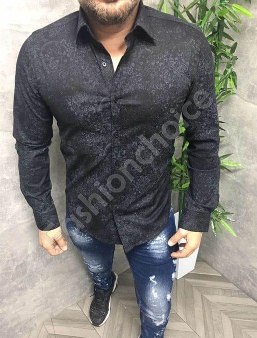 Елегантна мъжка риза в черно с разнообразни елементи-код 680-3