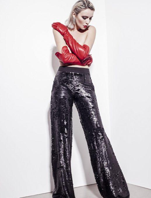 Стилен дамски панталон от бляскави пайети-Код 320