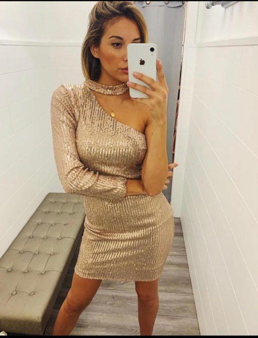 Блестяща златна рокля с един ръкав Код 315-1