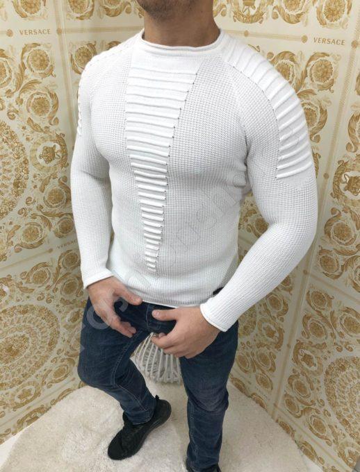 Мъжка плетена блуза с релефни мотиви в бяло-Код 1090