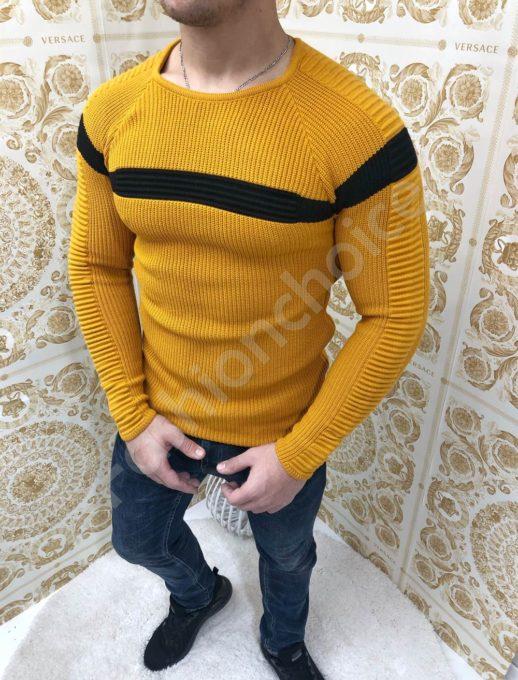 Свежа мъжка плетена блуза в цвят горчица-Код 230-1
