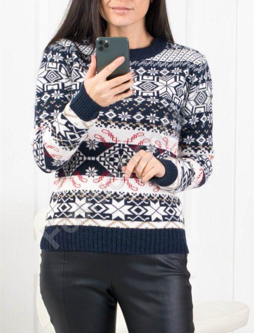 Плетен пуловер в синьо с коледни мотиви-код 1167-8