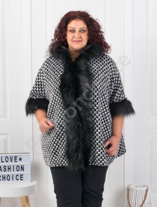 Шикозно плътно макси палто с богат еко косъм-шахмат Код 1132-3