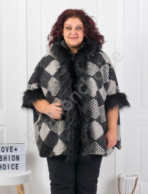 Шикозно плътно макси палто с богат еко косъм-ромб Код 1132-2