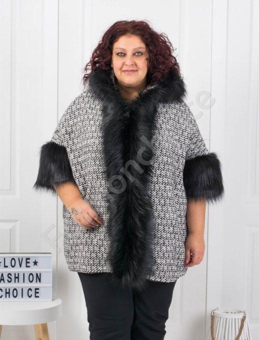 Шикозно плътно макси палто с богат еко косъм-пепит Код 1132