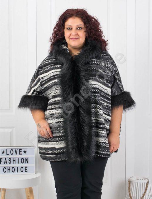 Шикозно плътно макси палто с богат еко косъм-пепит райе Код 1132-1
