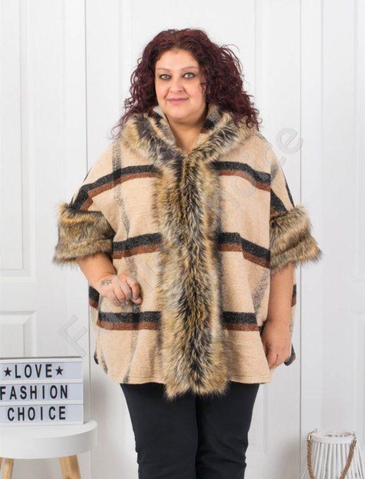Кокетно макси палто в десен на каре в цвят пудра-код 1143-1
