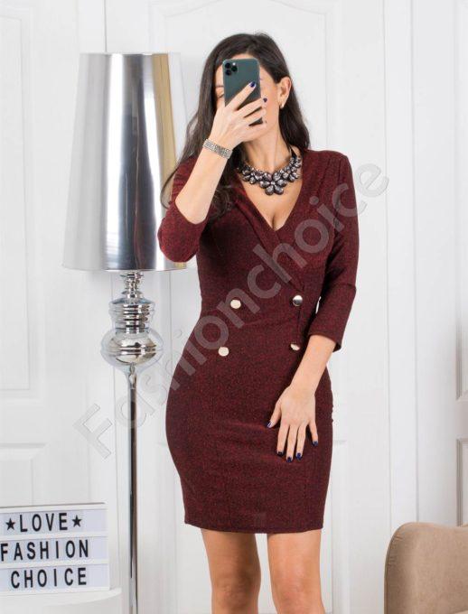 Стилна рокля в бордо със златни копчета Код 326