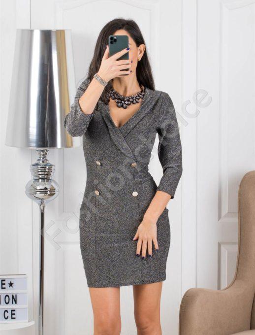 Стилна сребърна рокля с копчета Код 326-1