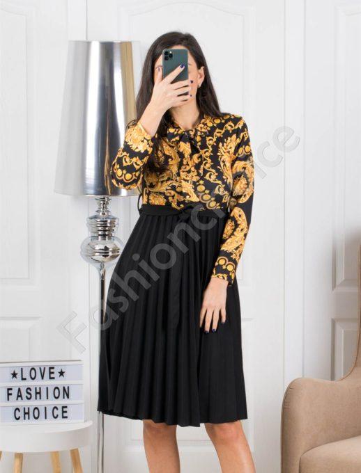 Елегантна рокля плисе с флорален десен в жълт цвят Код 324