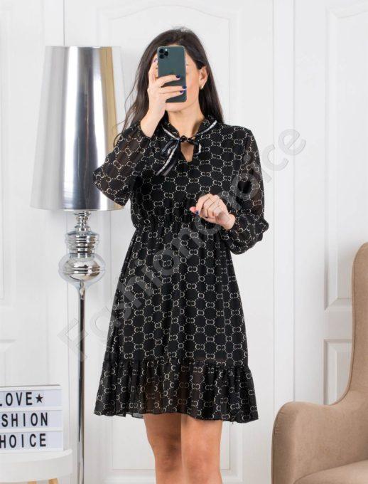 Ефирна рокля с волан в черно Код 323
