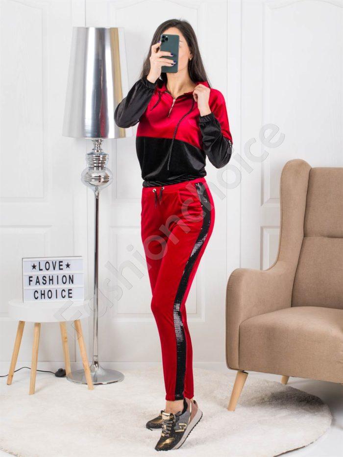 Дамски плюшен комплект в червено-код 1380-2