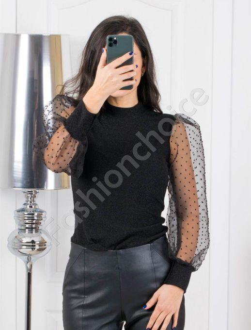 Елегантна блуза в черно с ръкави от тюл-код 321