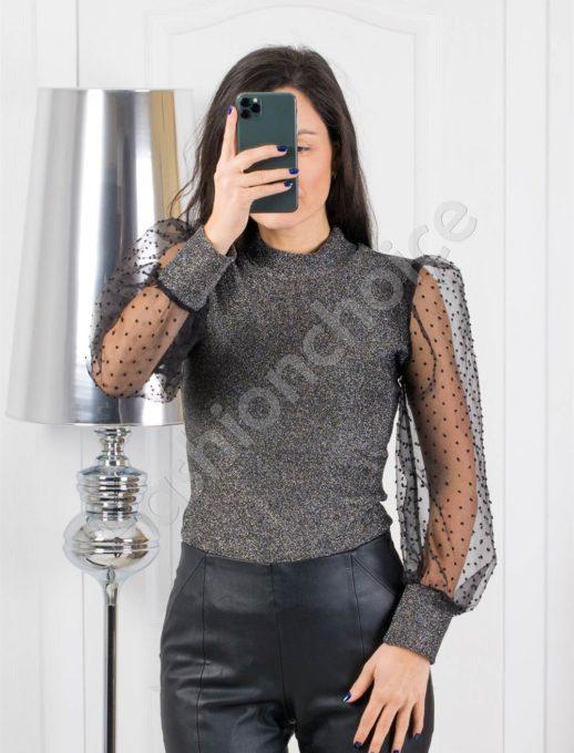 Елегантна сребърна блуза с ръкави от тюл-код 321-1