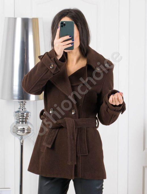 Вълнено дамско палтенце в модерен кафяв цвят-Код 1403-3