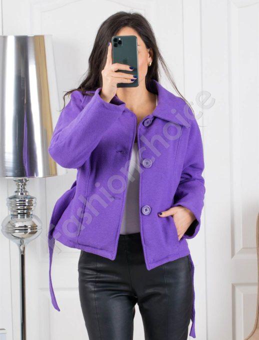 Кокетно дамско палтенце в свеж лилав цвят-Код 1403-2
